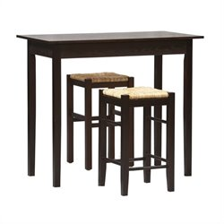 3 PC Space Saver Counter Height Dining Set in Espresso