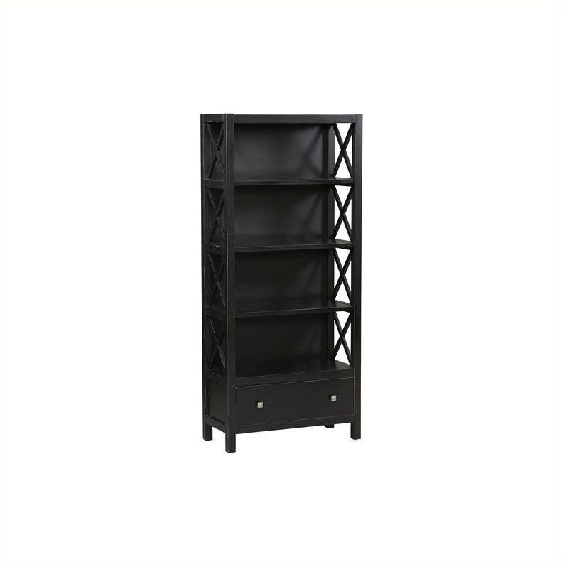 Linon Anna Collection 5 Shelf Bookcase in Antique Black