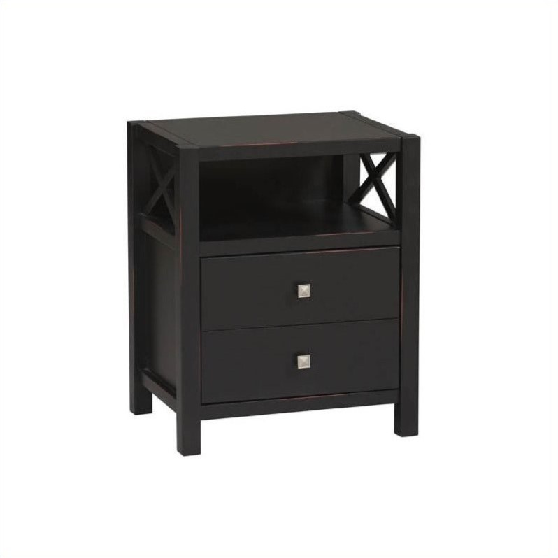 Storage End Table in Distressed Antique Black