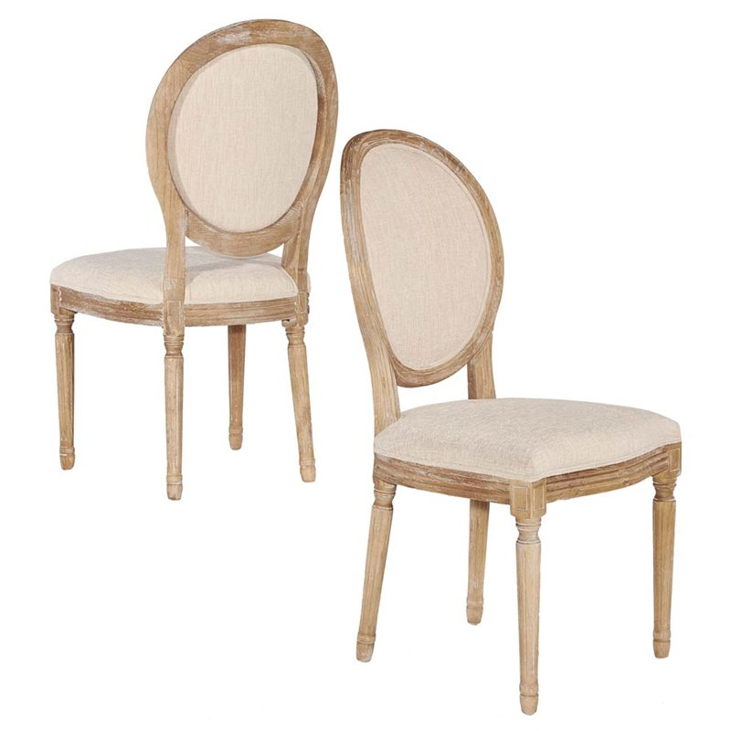 Linon Manchester Oval Back Dining Side Chair In Linen (Set Of 2)