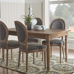 Linon Salford Dining Table in Dark Natural Brown