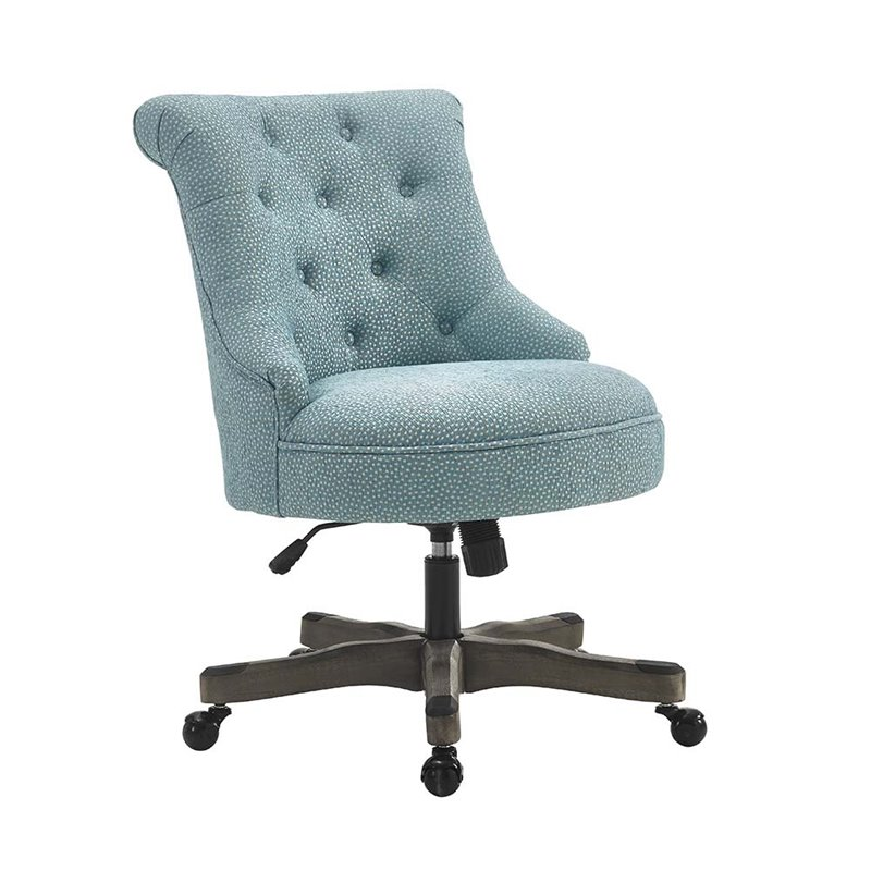 Linon Sinclair Swivel Fabric Upholstered Office Chair In Light Blue