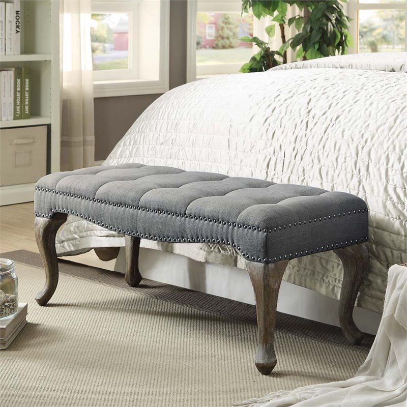 Linon Loire Cabriolet Linen Nailhead Bedroom Bench in Washed Gray