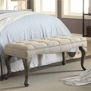 Linon Loire Cabriolet Linen Nailhead Bedroom Bench in Washed Natural