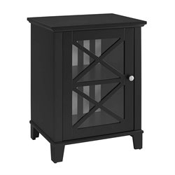 Linon Rapture Awning Stripe Small Accent Cabinet in Black