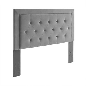 Linon Clayton Dove Fabric Upholstered Full Queen Headboard in Gray