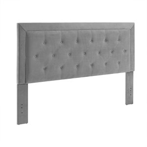 Linon Clayton Dove Fabric Upholstered King Headboard in Gray