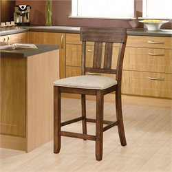 Melville Bar Stool in Beige and Walnut