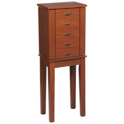 Linon Mara Jewelry Armoire in Cherry