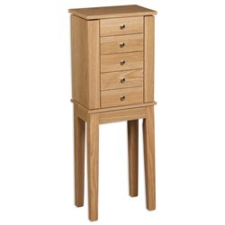 Linon Cyndi Jewelry Armoire in Oak