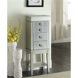 Linon Madison Jewelry Armoire in Silver