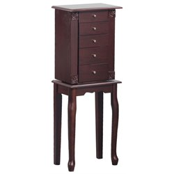 Linon Skyler Jewelry Armoire in Walnut