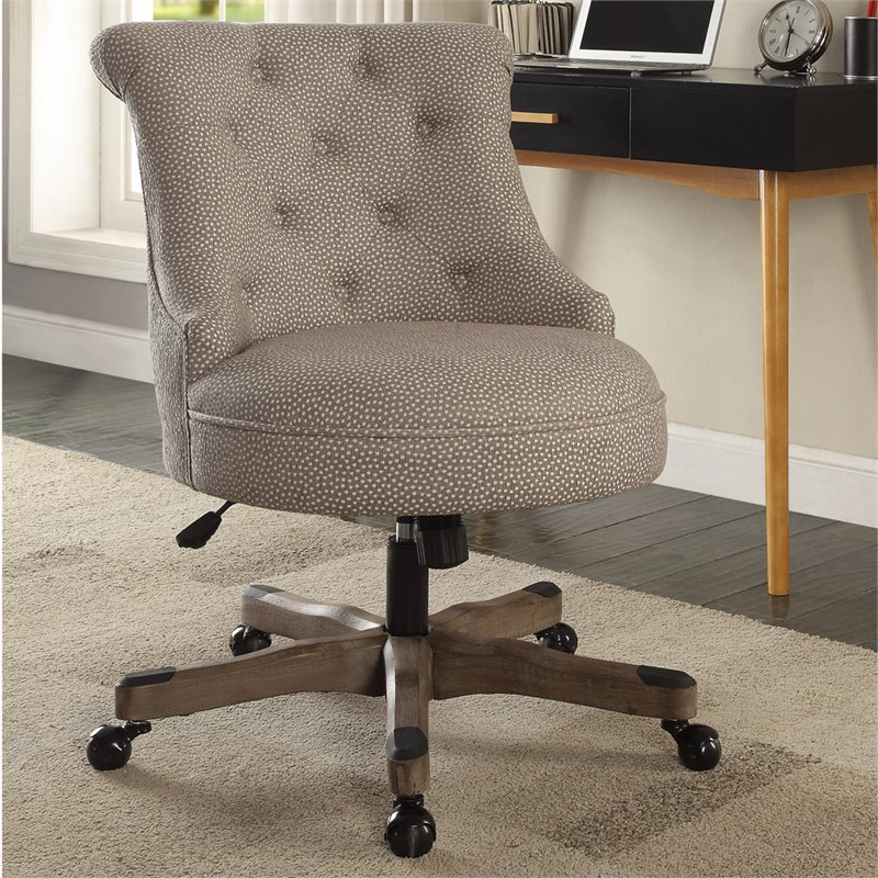 Linon Sinclair Office Chair With Gray Wash Wood Base In Light