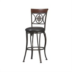 Linon Fleur De Lis 30 Inch Bar Stool in Dark Antique Brown