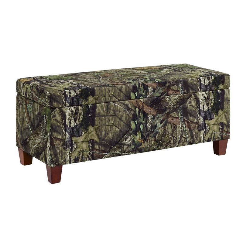 Linon The Mossy Oak Nativ Living Wood Upholstered Storage Ottoman in Brown