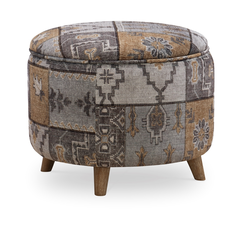 Linon Isla Round Multi Patterned Wood Upholstered Ottoman in Gray