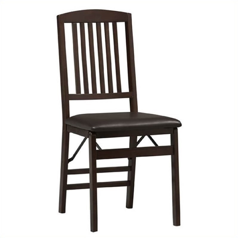 Linon Triena Mission Back Vinyl  Dining Chair in Espresso Finish (Set of 2)