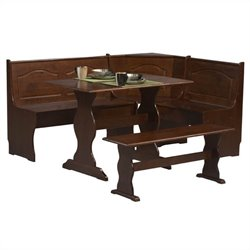 Linon Chelsea Breakfast Corner Nook Table Set in Walnut