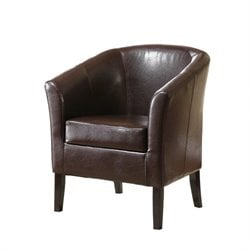 Linon Simon Vinyl Barrel Club Chair in Brown