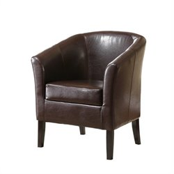 Linon Simon Club Chair in Brown