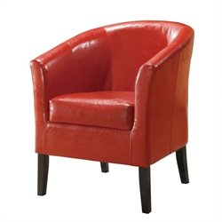 Linon Simon Faux Leather Club Chair in Red