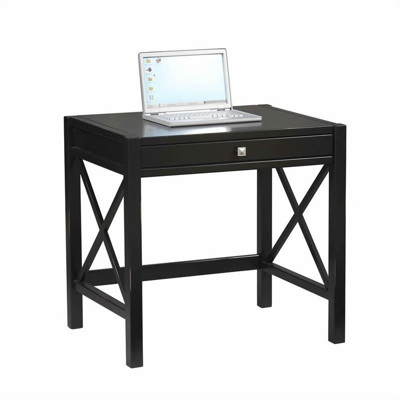 Linon Anna Laptop Desk in Distressed Antique Black