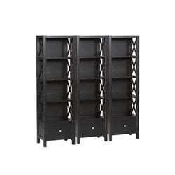 Linon Anna 5 Shelf Wall Bookcase in Distressed Antique Black