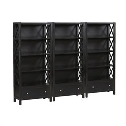 5 Shelf Wall Bookcase in Distressed Antique Black