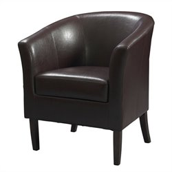 Linon Simon Faux Leather Club Barrel Chair in Blackberry