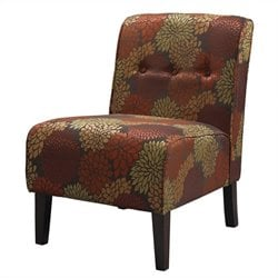Linon Coco Harvest Fabric Tufted Accent Slipper Chair in Harvest