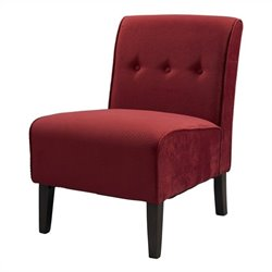Linon Coco Red Accent Chair in Dark Walnut