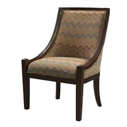 Linon Carnegie Fabric Swayback Slipper Chair in Brown Chevron