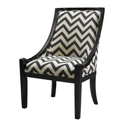 Linon Carnegie Fabric Slipper Swayback Chair in Black Chevron