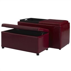 Linon Croco Bogo Ottoman in Red