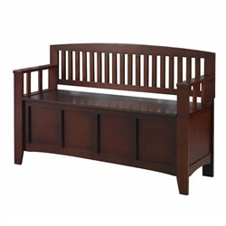 Linon Cynthia Storage Bench in Walnut