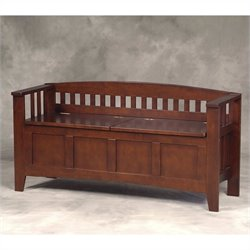 Linon Storage Bench Short Split Seat Storage in Walnut