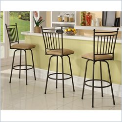 Linon Metal Adjustable Swivel Bar Stool in Brown (Set of 3)