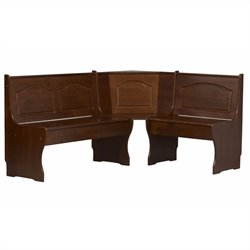 Linon Chelsea Kitchen Dining Nooker Corner Unit in Walnut