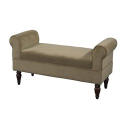 Linon Lillian Upholstered Coffee Fabric Bench in Dark Mahogany