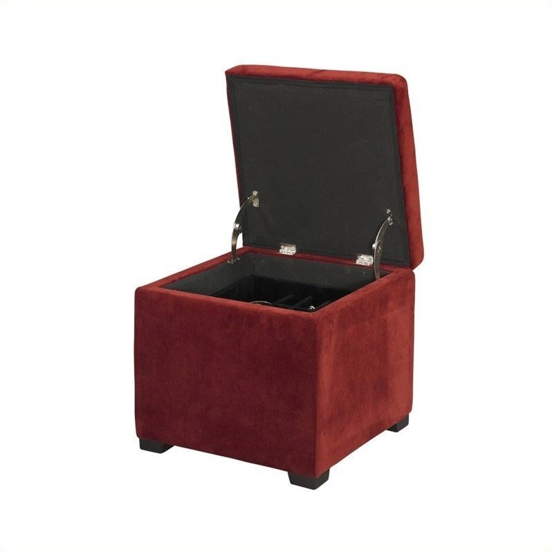 Linon Judith Upholstered Ottoman with Jewelry Storage in Red