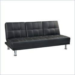 Linon Margery Upholstered Vinyl Sofa Bed in Black