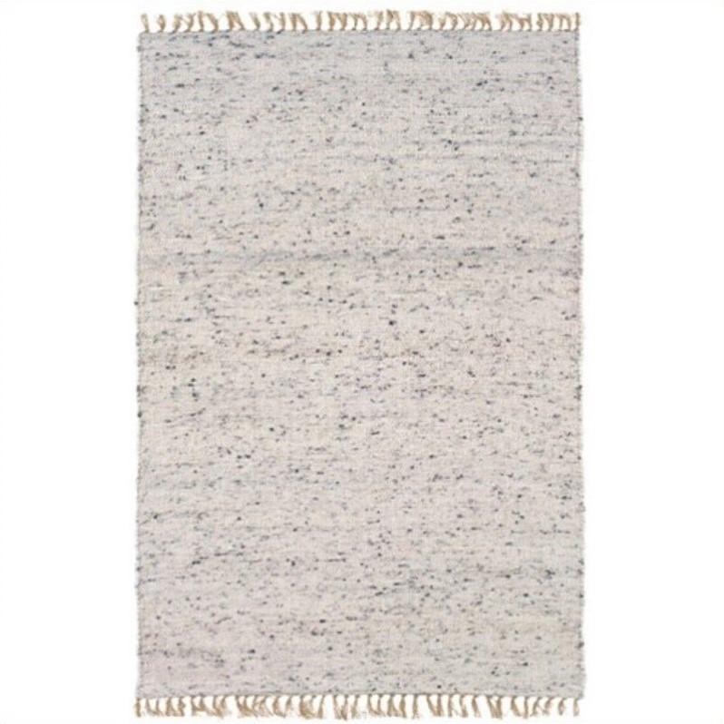Linon Rugs Verginia Berber Rectangular Area Rug in Natural and Black