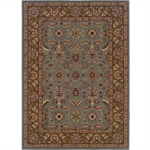 Rugs Rectangular Area Rug in Light Blue & Brown