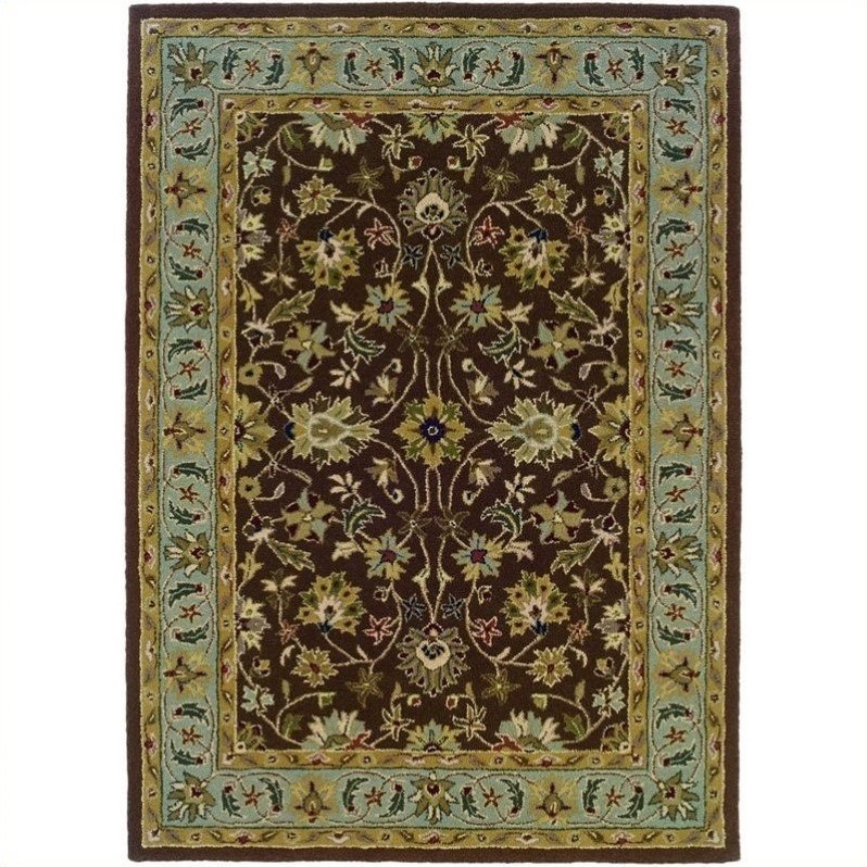 Linon Rugs Trio Traditional Rectangular Area Rug in Brown/Light Blue