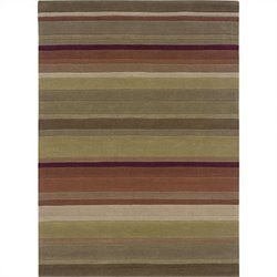 "Linon Rugs Trio Rectangular Area Rug in Green and Rust - 1.5"" H x 22"" W x 34"" D"