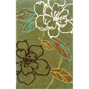 Rugs Space Dyed Rectangular Area Rug in Green and Brown