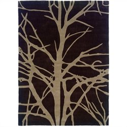 "Linon Rugs Trio Rectangular Area Rug in Chocolate and Tan - 1.5"" H x 22"" W x 34"" D"