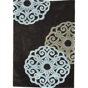 Rugs Rectangular Area Rug in Chocolate and Ice Blue