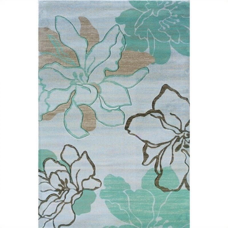 Rugs Rectangular Area Rug in Ivory and Turquoise