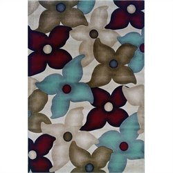 "Linon Rugs Milan Flower Rectangular Area Rug in Garnet and Ivory - 0.5"" H x 23"" W x 34"" D"